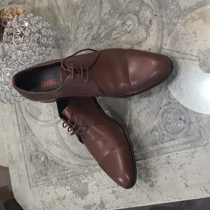 HUGO BOSS Brown Leather Captoe oxford shoes